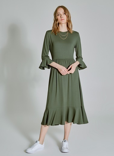 People By Fabrika Volan Detaylı Elbise Haki